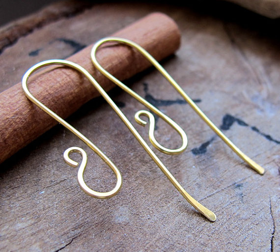 Long Brass Ear Hooks