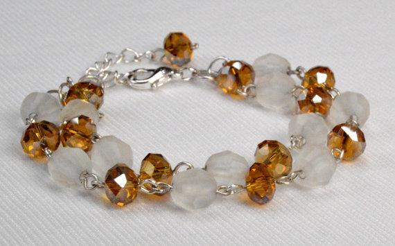 Amber Crystal Bead Link Bracelet