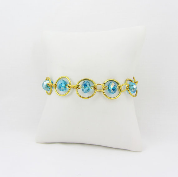Gold Chain Link Bracelet with Blue Rondelle Beads