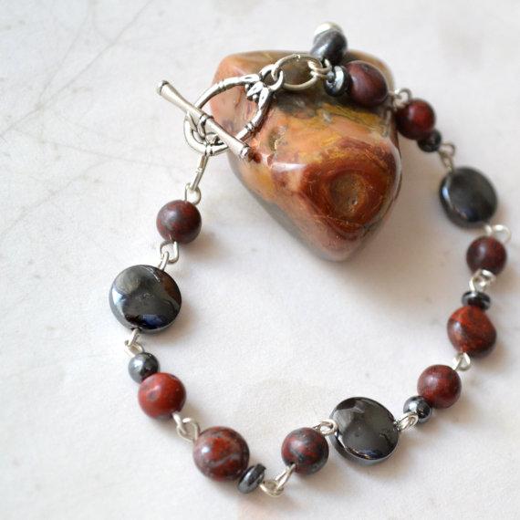 Jasper Hematite Link Beaded Bracelet