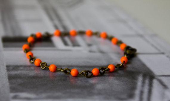 Orange Bead Link Bracelet
