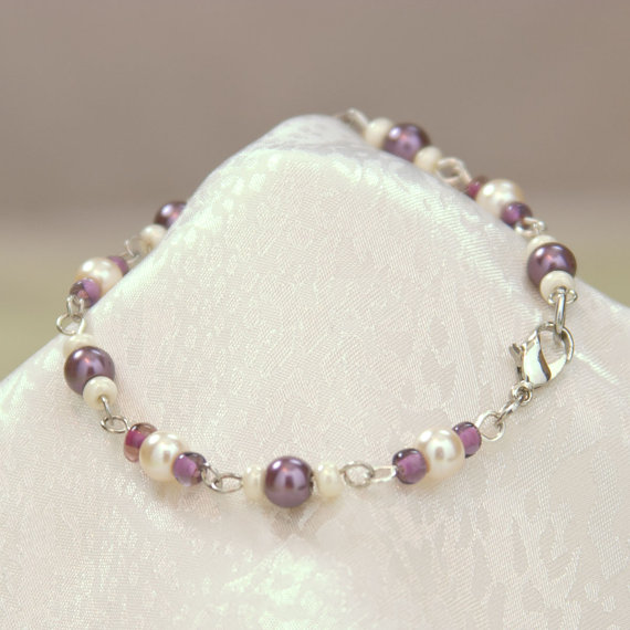 Purple Glass Pearl Bead Link Bracelet