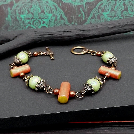 Sage Rust Bead Link Bracelet
