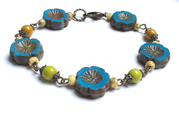 Vintage Teal and Mustard Glass Bead Link Bracelet