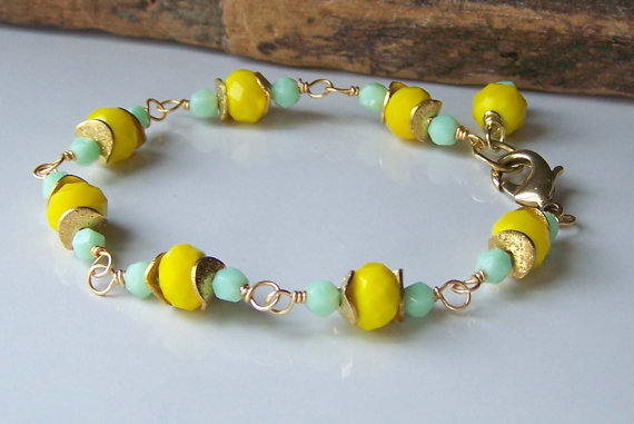 Yellow and Green Linked Bracelet