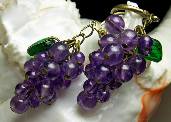 Dark Amethyst Purple Grape Dangle Earrings