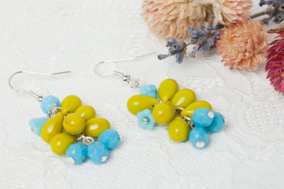Green and Blue Cluster Dangle Grape Earrings