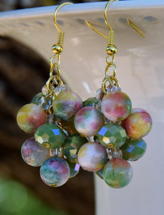 Jade Beaded Grape Cluster Dangle Earrings