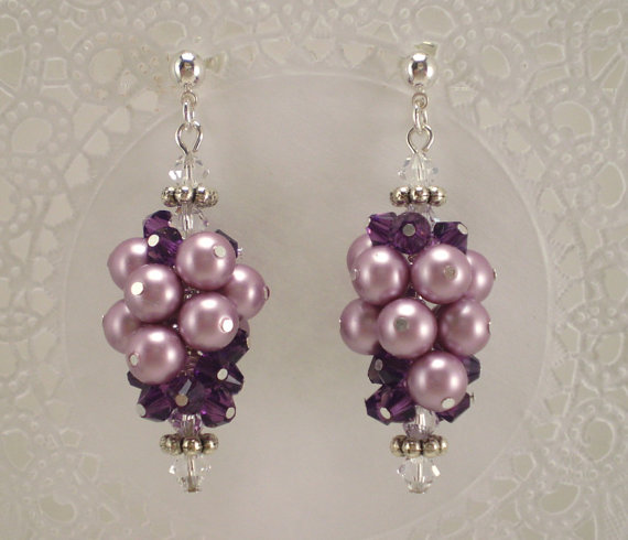 Pearl Grape Cluster Earrings