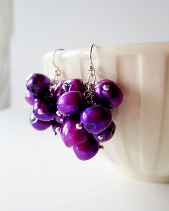 Purple Pearl Grape Cluster Earrings