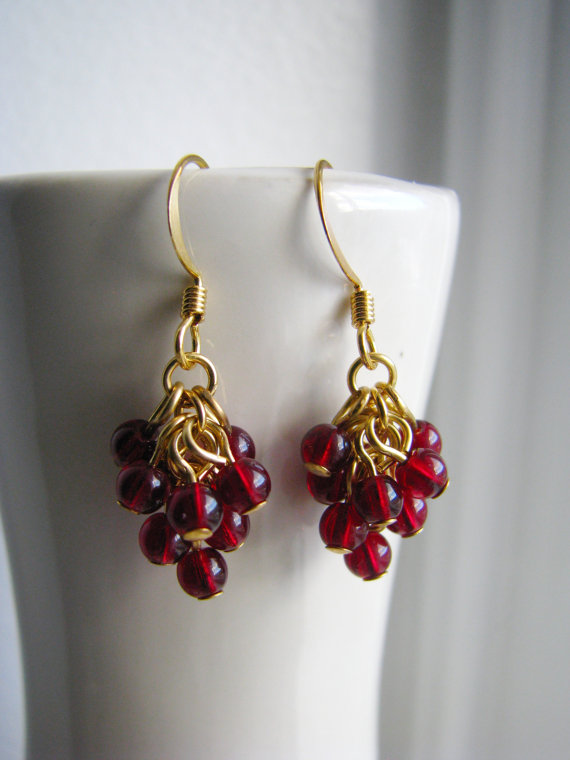 Raspberry Beaded Grape Cluster Earrings