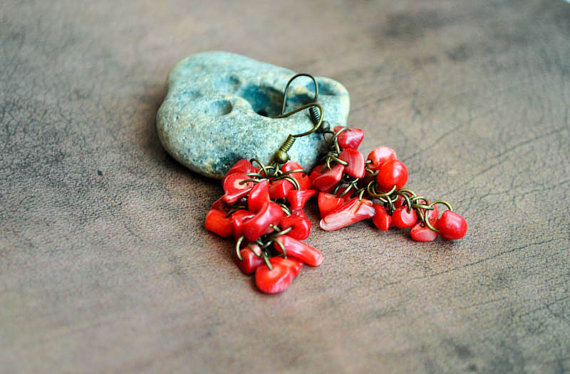 Red Coral Chips Grape Earrings