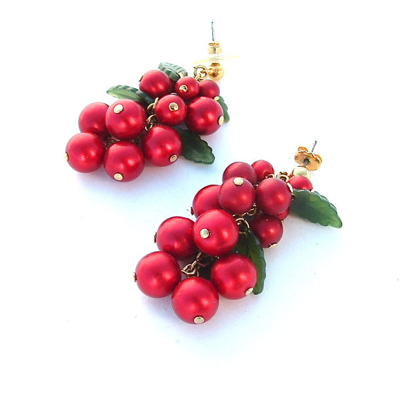 Red Grape Style Dangle Earring Clusters