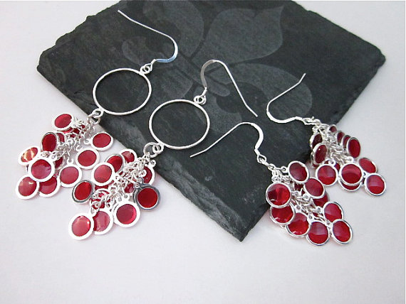 Red and Silver Grape Dangle Earring Clusters