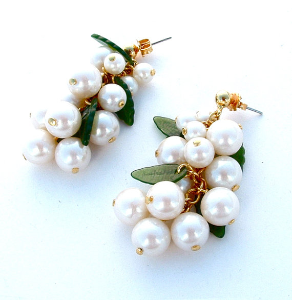 White Cluster Grape Dangle Earrings