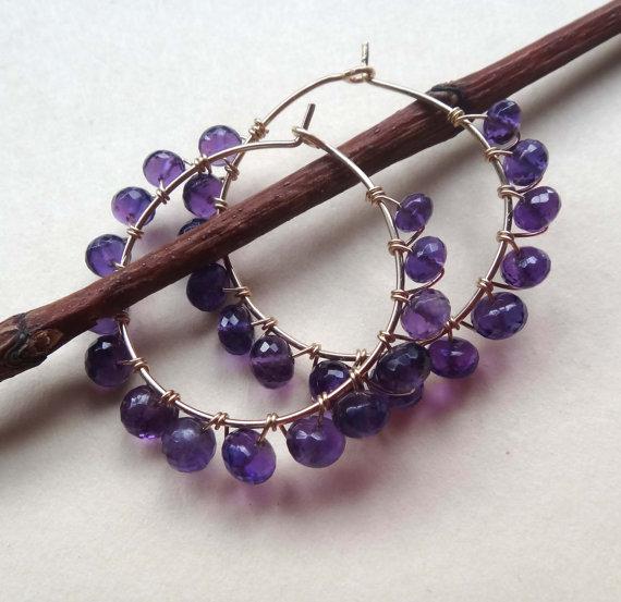 Amethyst Wire Wrapped Beaded Hoop Earrings