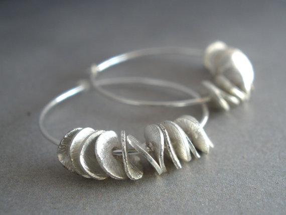 Silver Discs Hoop Earrings