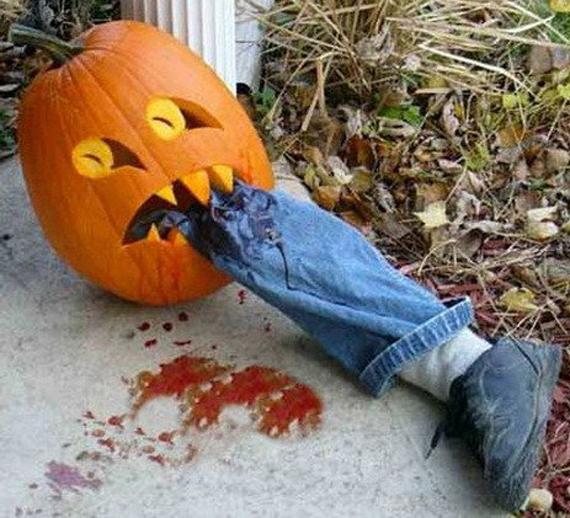 nothing says scary more than a pumpkin riddled with splattered blood and loose limbs creating your very own pumpkin crime scene is just one way to add some