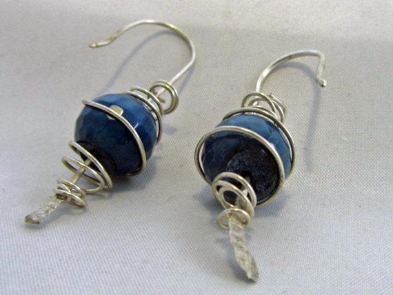 Hammered-Gemstone-Bead-Cage-Earrings