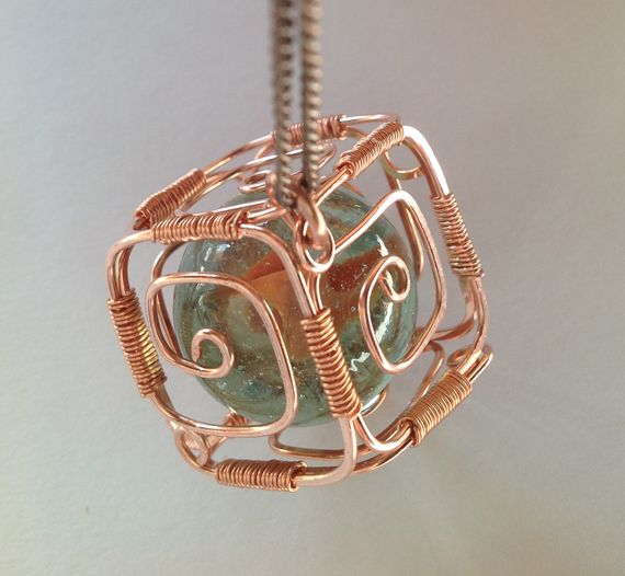 Square Bead Cage Wire Wrapped Pendant