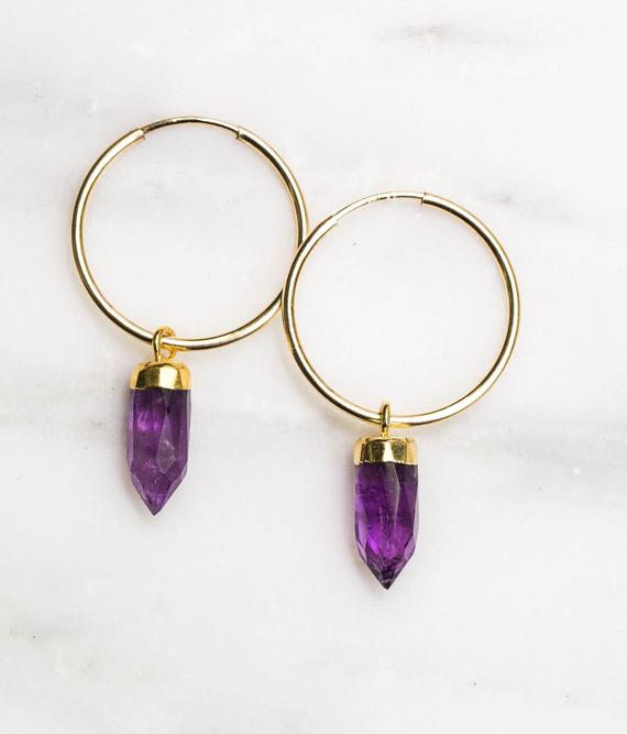 Amethyst-Hoop-Earrings