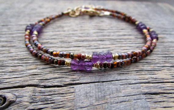 Amethyst-Multi-Strand-Beaded-Bracelet