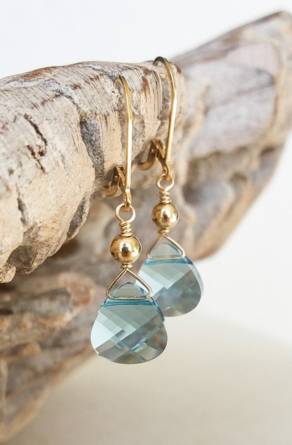 Aquamarine-Birthstone-Wire-Wrapped-Briolette-Earrings