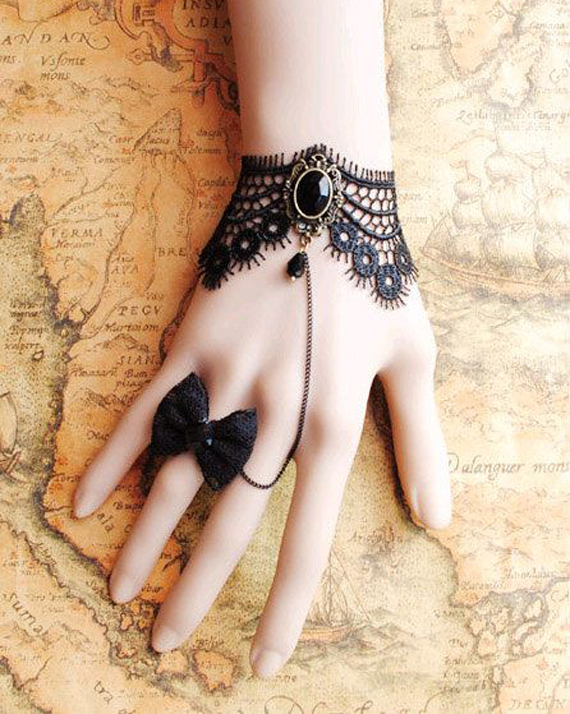 Black-Laced-and-Bow-Ring-Slave-Bracelet