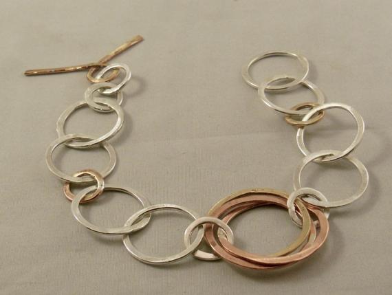Brass-Chain-Linked-Hammered-Bracelet