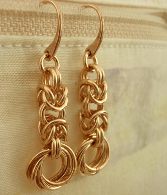 Bronze-Jump-Ring-Linked-Earrings