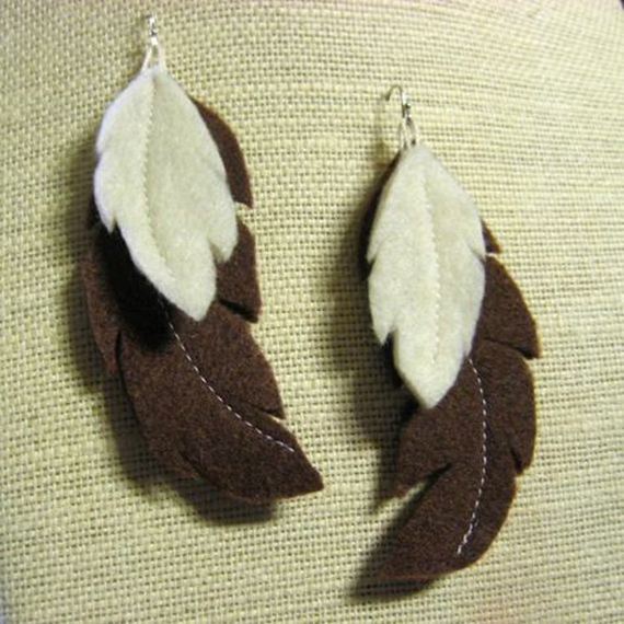 Brown-Stitched-Feather-Felt-Earrings