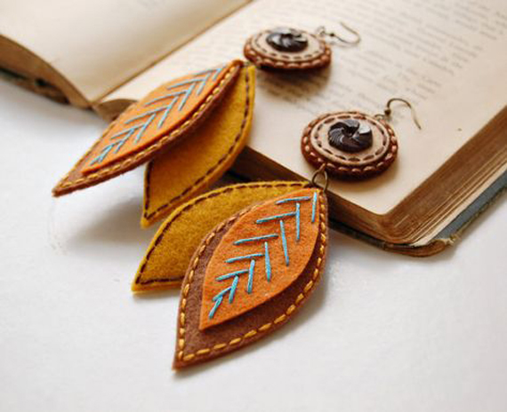 Button-Felt-Leaf-Stitched-Earrings