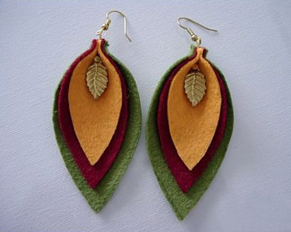 Folded-Felt-Leaf-Earrings-with-Bead