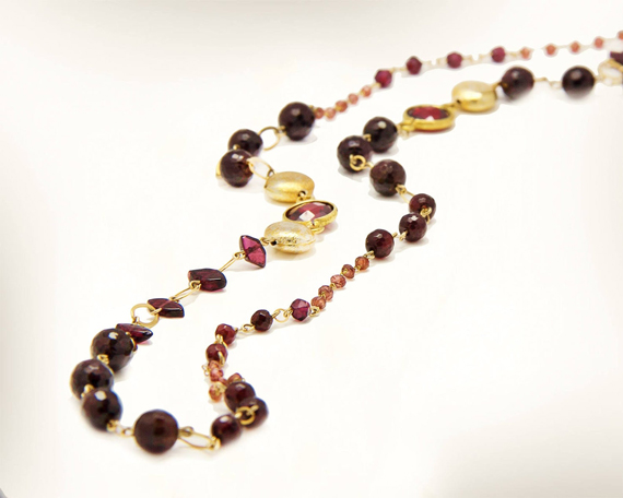 Garnet-Birthstone-Beaded-Linked-Necklace