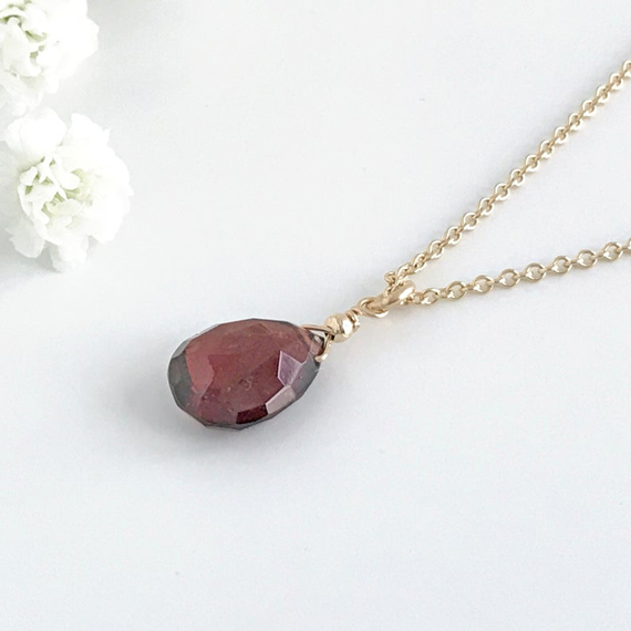 Garnet-Briolette-Drop-Pendant-Necklace