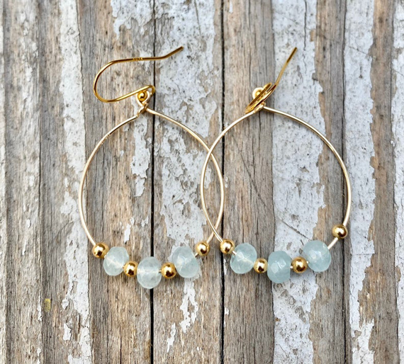 Gold-Aquamarine-Beaded-Round-Hoops-Birthstone-Earrings