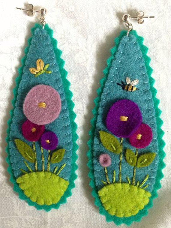 Hand-Stitched-Embroidered-Felt-Earrings
