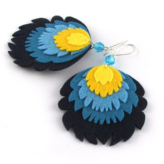 Layered-Felt-Feather-Earring-Design