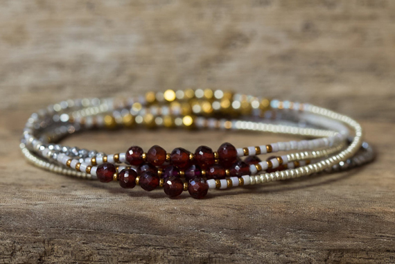 Multi-Strand-Garnet-Bead-Wrap-Bracelet