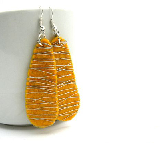 Orange-Modern-Felt-Earrings