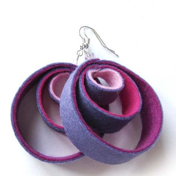 Purple-Circle-Hoop-Felt-Earrings