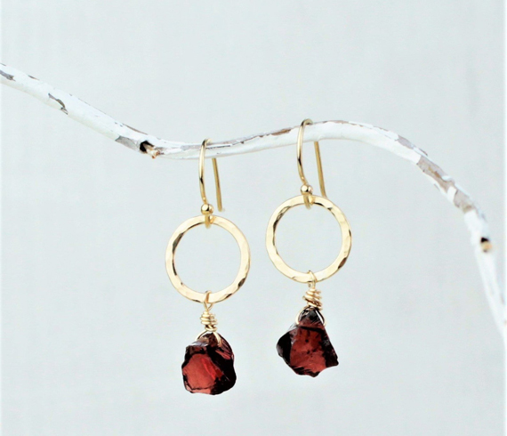 Raw-Garnet-Stone-Hanging-Earrings