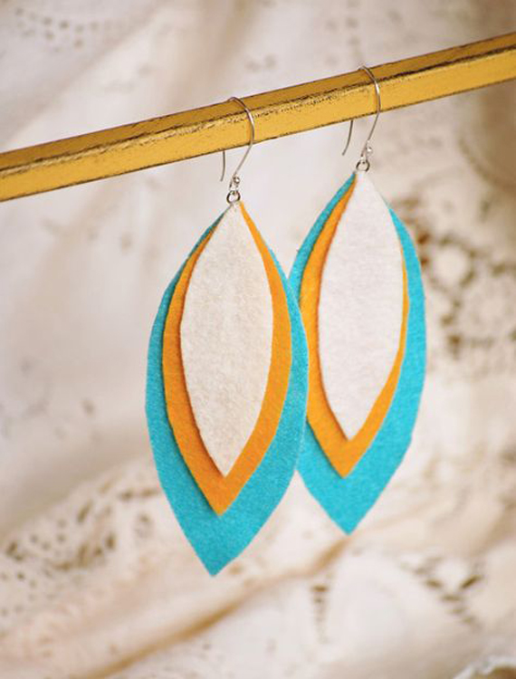 Simple-Layered-Leaf-Felt-Earrings