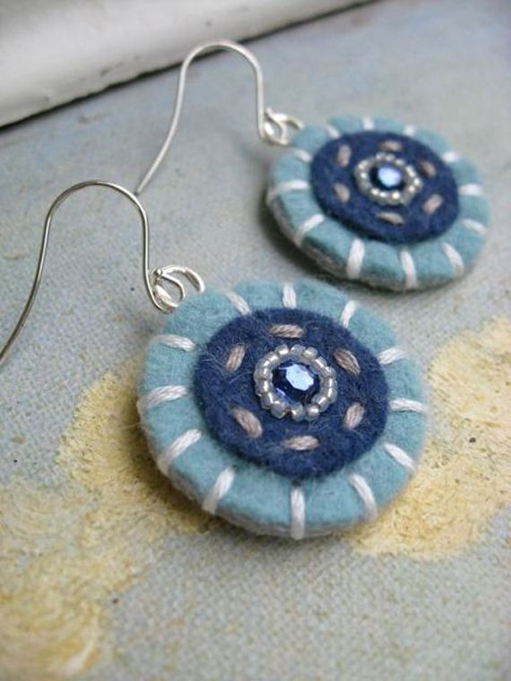 Stitched-Beaded-Button-Felt-Earrings