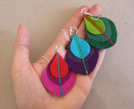 Stitched-Leaf-Felt-Earrings