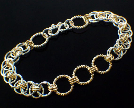 Texture-Link-Gold-and-Silver-Jump-Ring-Bracelet