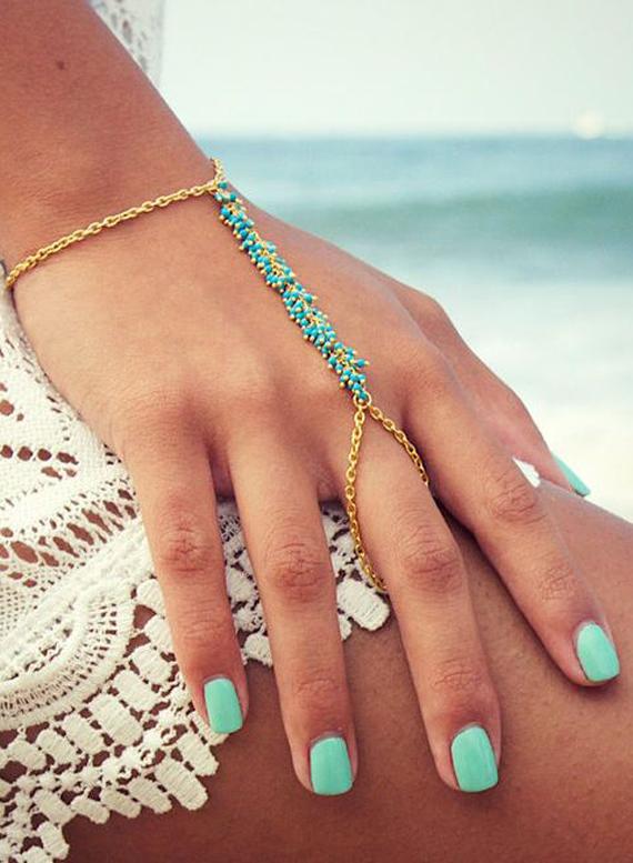 Turquoise-Beaded-Chain-Slave-Bracelet