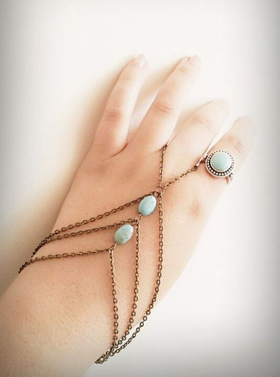 Arrow-Beaded-Hand-Chain-Bracelet