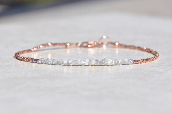 Delicate-Raw-Diamond-and-Rose-Gold-Bracelet