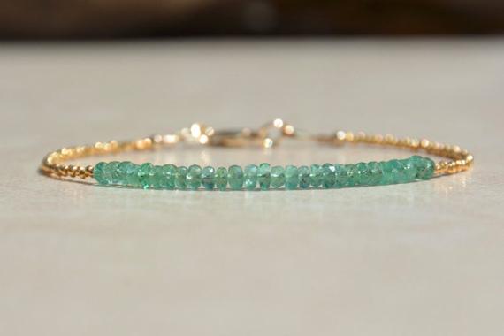 Emerald-Birthstone-Gold-Beaded-Bracelet